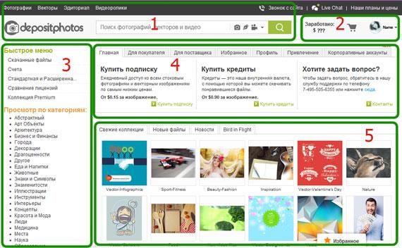 Depositphotos, регистрация, интерфейс, меню, микросток, фотосток